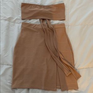 Tanned top and skirt set